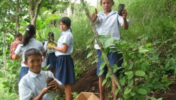 EBPP school children planting soap not trees in their school garden