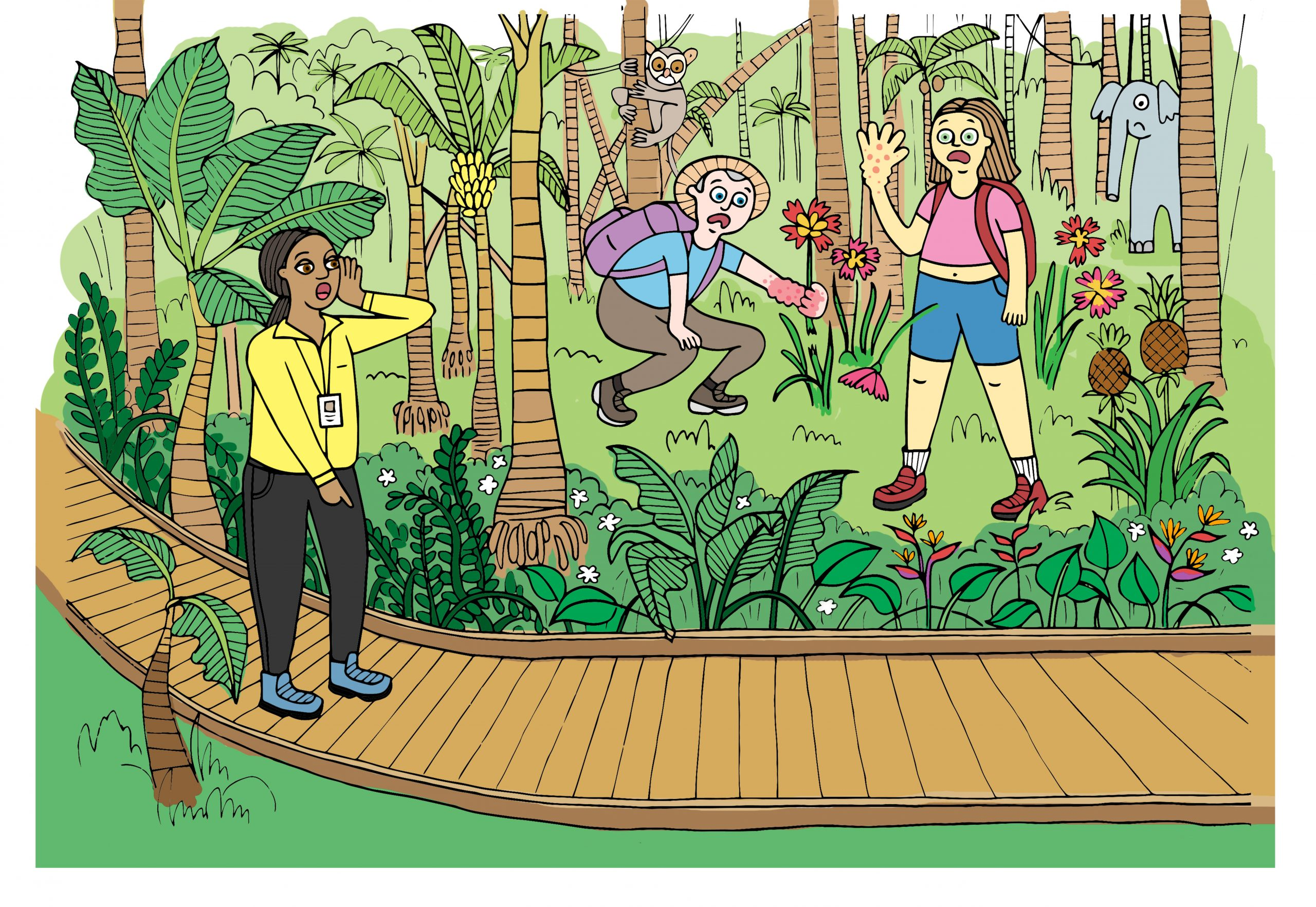 Be aware that some tropical plants are stinging or poisonous, avoid touching what you don't know.